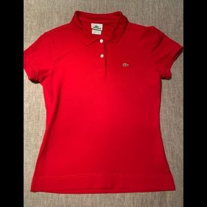 Lacoste fitted red polo shirt